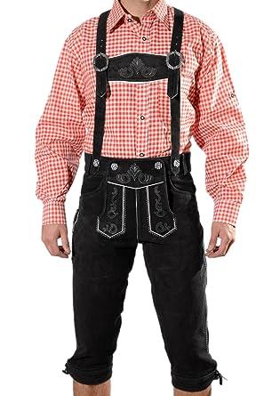 186ced7b4b53f Pantalon traditionnel aux genoux en cuir Pantalon à bretelles en daim noir Costume  traditionnel bavarois pour l'Oktoberfest Taille 44, 46, 48, 50, 52, 54, ...