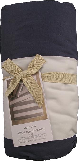 West Elm Stripe Duvet Cover Navy White King Size Amazon Ca