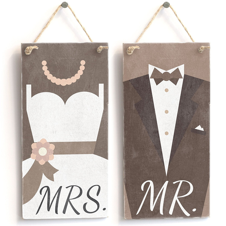 Vintage PVC Sign//Plaque 10x5 Meijiafei Pair of Mr /& Mrs Wedding Dress /& Tuxedo