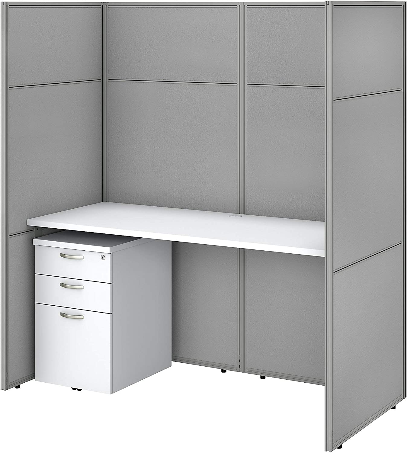 Amazon Com Bush Business Furniture Easy Office Cubicle Desk With File Cabinet And Closed Panels Workstation 60w X 66h Pure White Furniture Decor