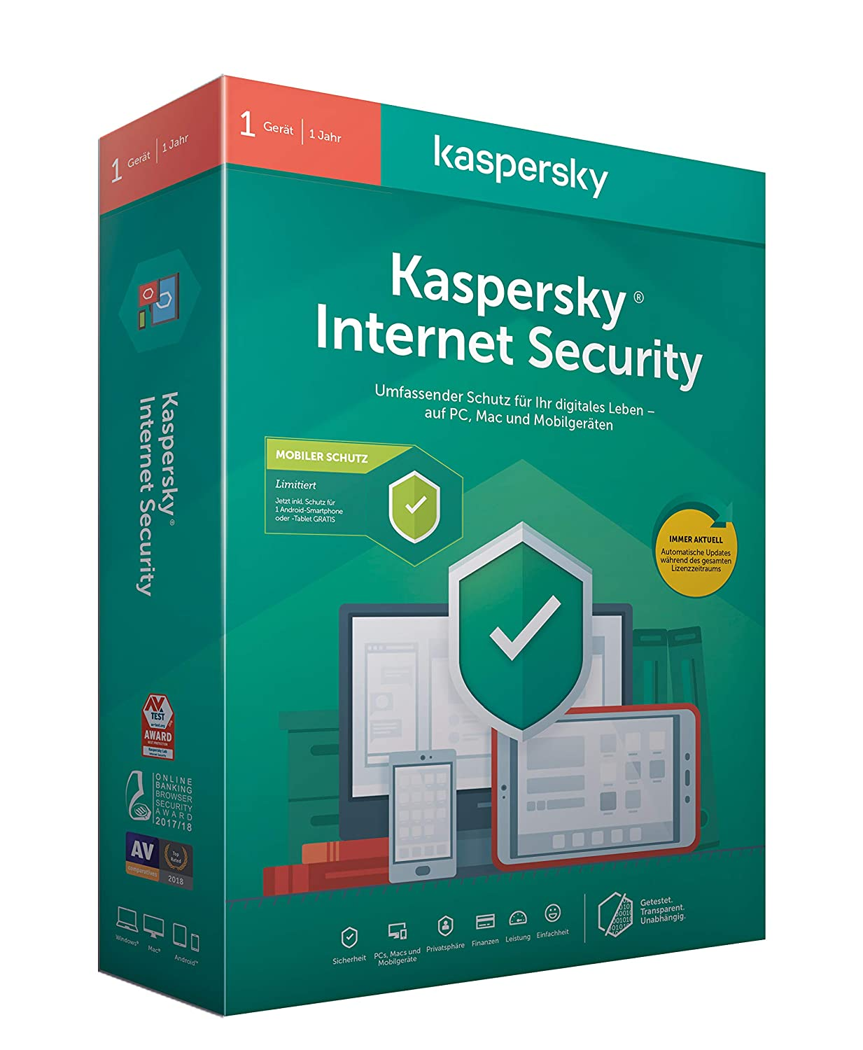 Kaspersky Internet Security + Android Security (Code in a Box). Für Windows 7/8/10/MAC/Android