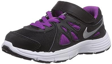 cd622c32c6dee Amazon.com: Nike Girl's Revolution II Athletic Shoe (PS) Black/Wolf ...