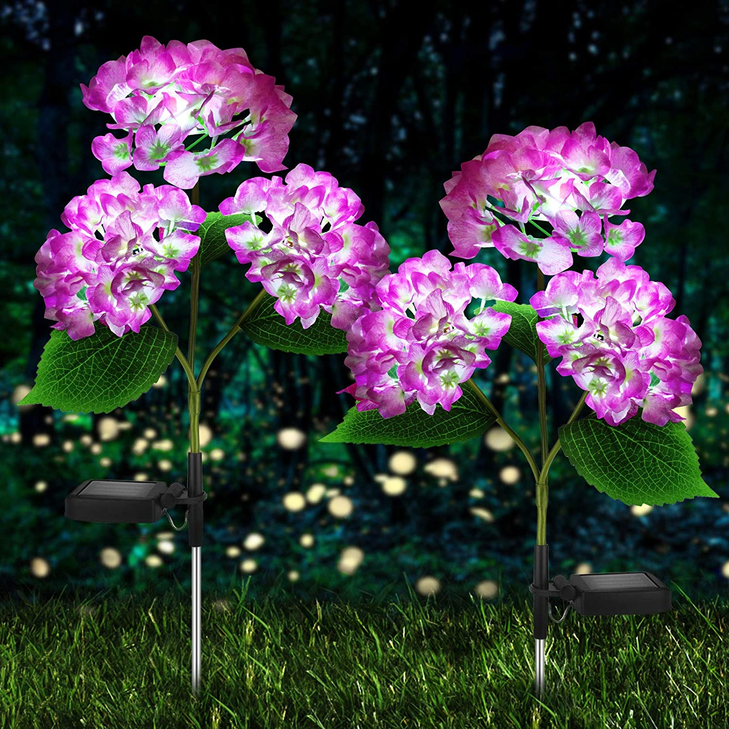 Solar Lights Outdoor Decorative - 2 Pack Hydrangea Solar Garden Stake Lights Waterproof and Realistic LED Flowers Powered Outdoor In-Ground Lights for Garden Lawn Patio Backyard (Purple)