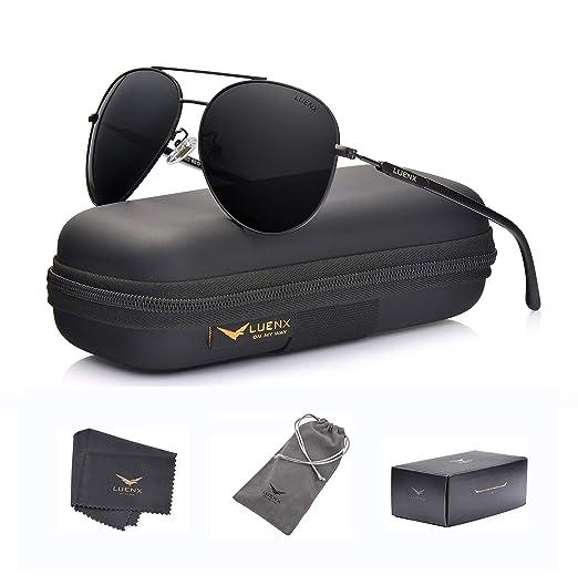 3284a8939f LUENX Aviator Sunglasses Mens Women Polarized Black Lens Black Metal Frame  Dark 60mm with Case -