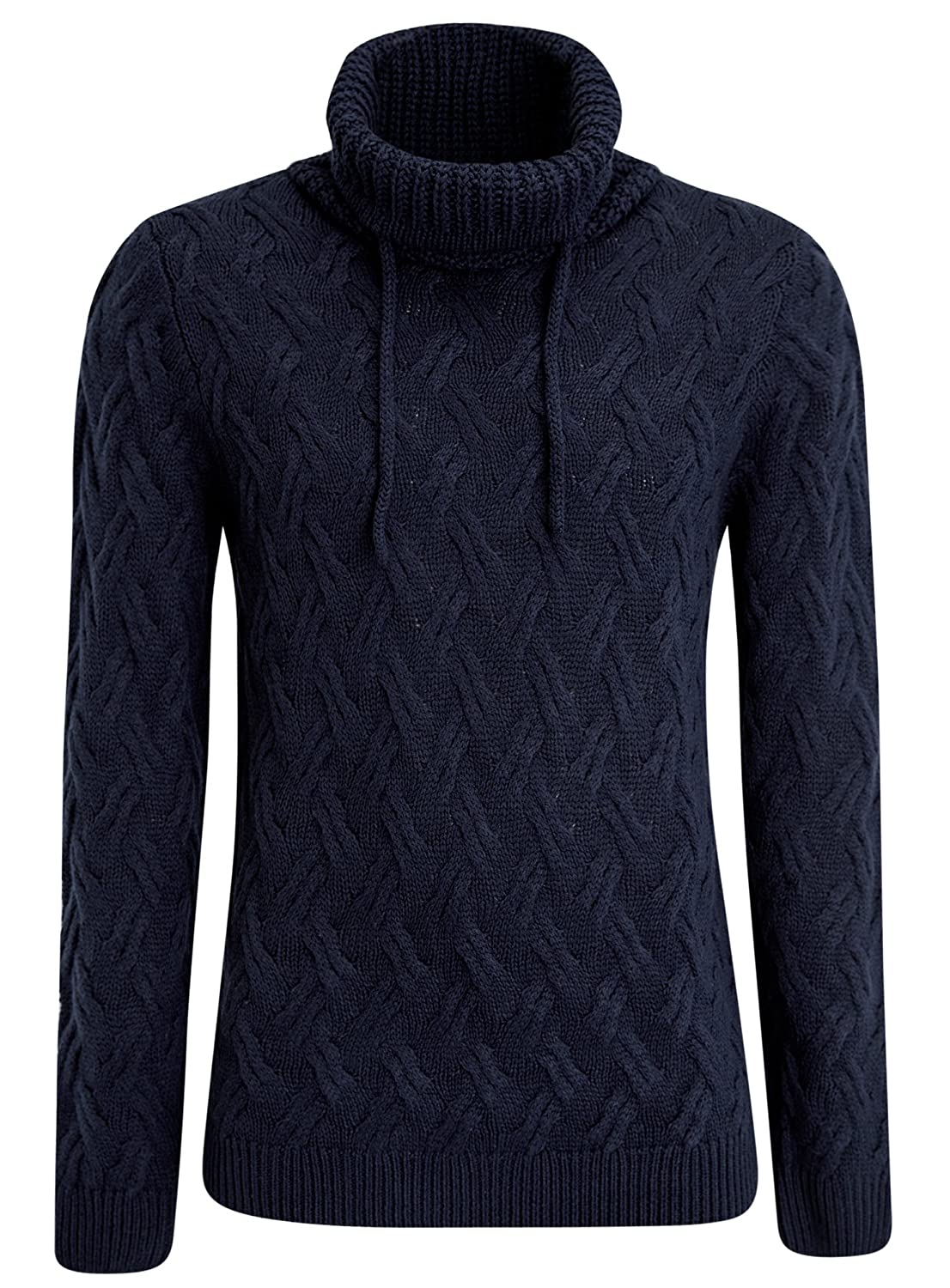 oodji Ultra Men's Textured Large Collar Pullover