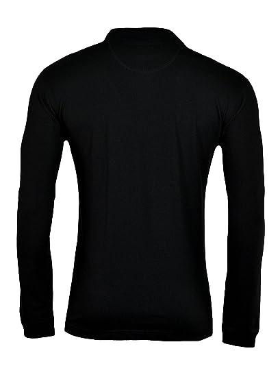 Polo negro hombres talla grande manga larga Hajo, 56-74:62: Amazon ...