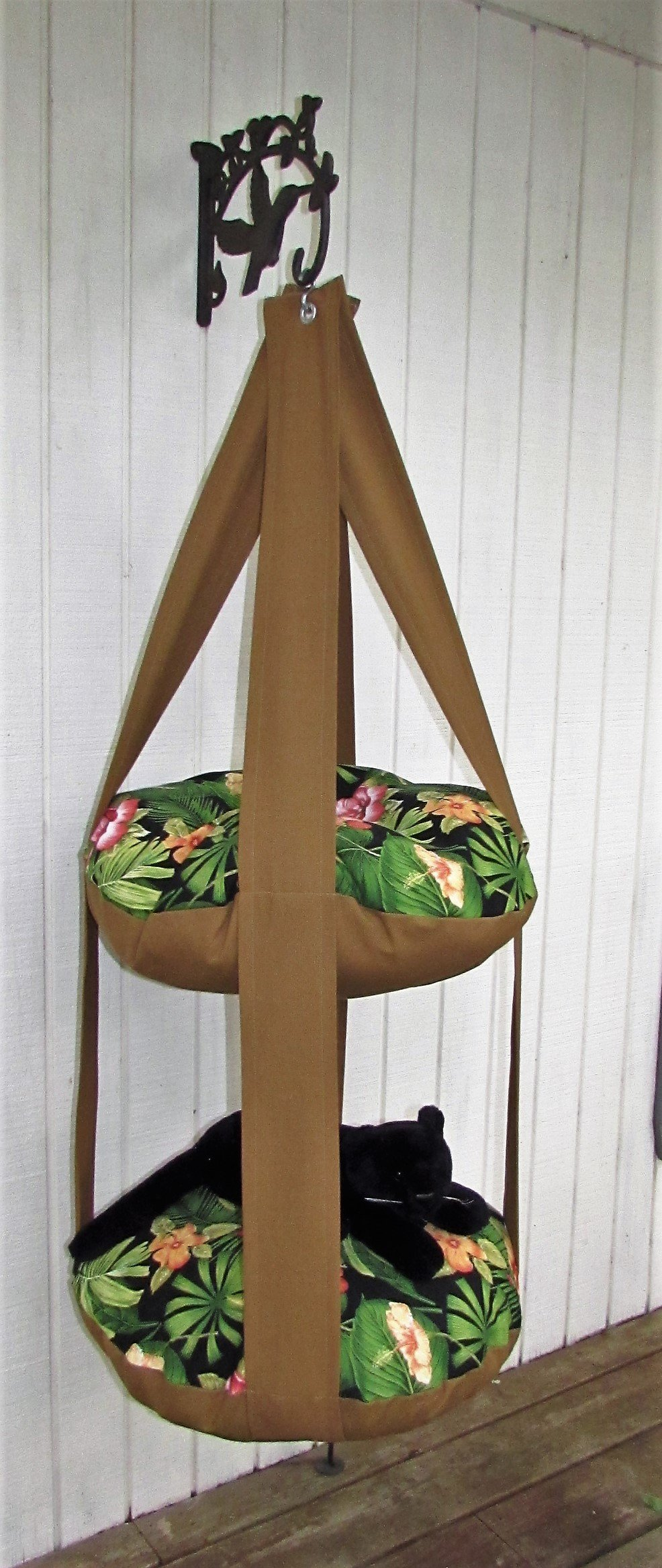Outdoor Cat Tree Hibiscus Tropical Palm 2 Level Kitty Cloud Cat Bed, Hanging Cat Bed, Pet Furniture, Cat Tree, Catio Furniture