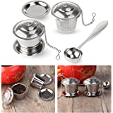 OUNONA Tea Strainer Tea Filter Ultra Fine Stainless Steel Strainer (Set of 2) with Tea Scoop and Drip Trays
