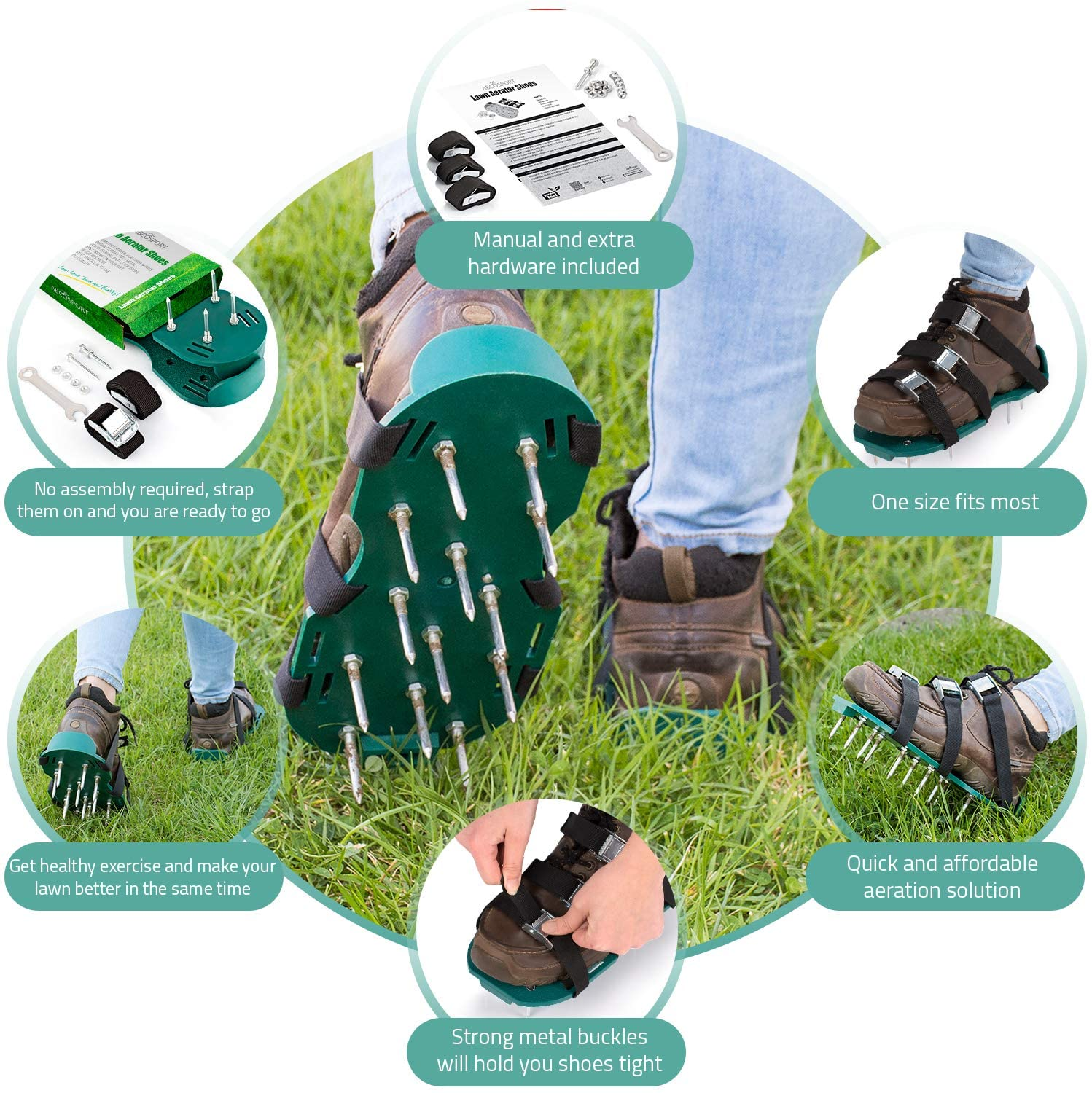 Soil- for a Greener and Healthier Yard /& Garden Tool AiBeiS Lawn Aerator Shoes Lawn Aerator Spike Shoes for Effectively Aerating Lawn