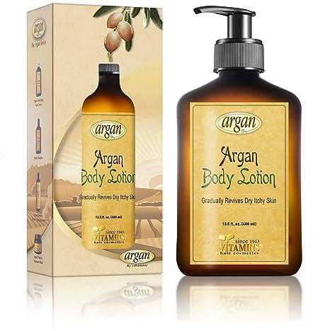 Vitamins loción corporal hidratante, reparación de piel seca con aceite de argán marroquí. Crema