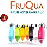 FruQua - Bottiglia infusore da 650ml in Tritan per acqua aromatizzata con filtro per frutta, a prova di perdite, in 7vivaci colori, priva di bisfenolo A + eBook di ricette gratuito (lingua italiana non garantita)