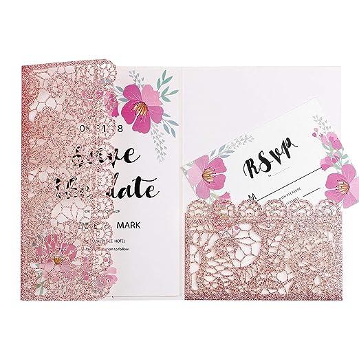 Feiyi 20 Tarjetas De Invitaciones Con Diseño De Flores