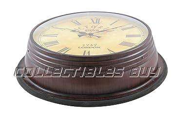 Marítimo decorativo Big marrón reloj de pared náutico marina réplica de colección de relojes: Amazon.es: Hogar