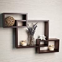 Furniture Cafe Wooden Intersecting Wall Shelves/Shelf for Living Room | Set of 4 | Brown