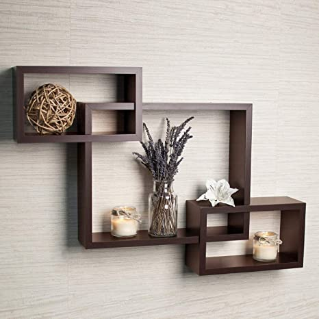 Enjoyable Driftingwood Mdf Intersecting Wall Mounted Shelf For Living Room Home Decor Floating Shelves Set Of 3 Brown Download Free Architecture Designs Grimeyleaguecom