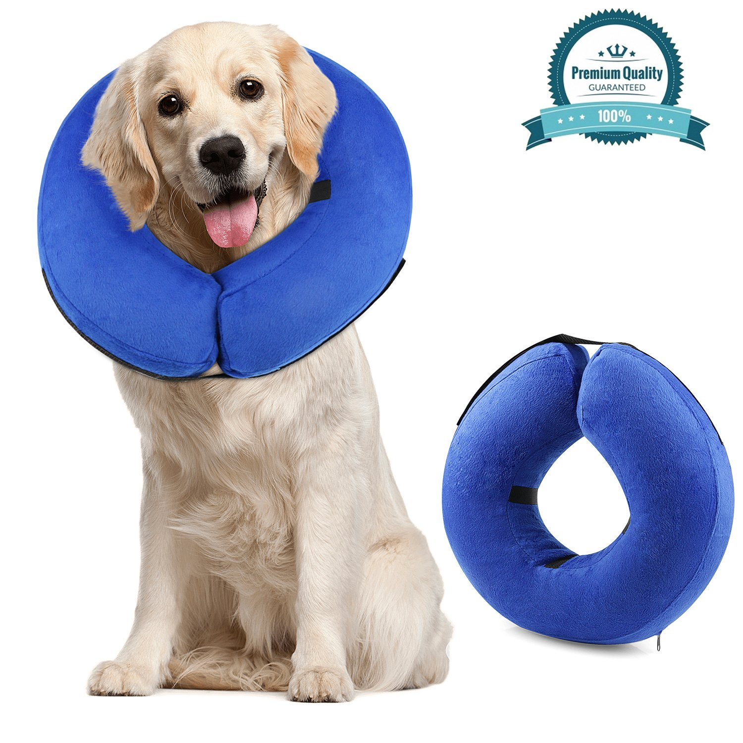 ONSON Protective Inflatable Cone Collar for Dogs and Cats, Adjustable Soft Pet Recovery E-Collar, Not Block Vision E-Collar, Large