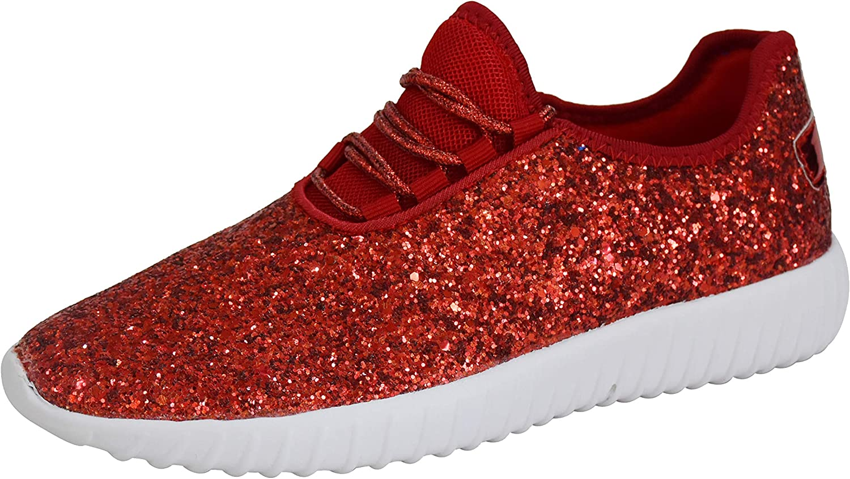 Roxy Rose Kids/Chidren Fashion Jogger Sneaker - Lightweight Glitter Quilted L.