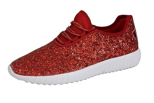 8fc8fd4ea8c9 ROXY-ROSE Women's Glitter Tennis Sparkly Sneaker Red Silver White Black  Stylish Shoes(6