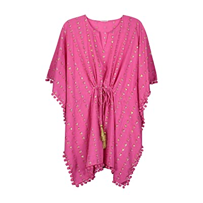 Masala Baby Women's Diu Cover Up Metallic Hearts Pink at Women's Clothing store