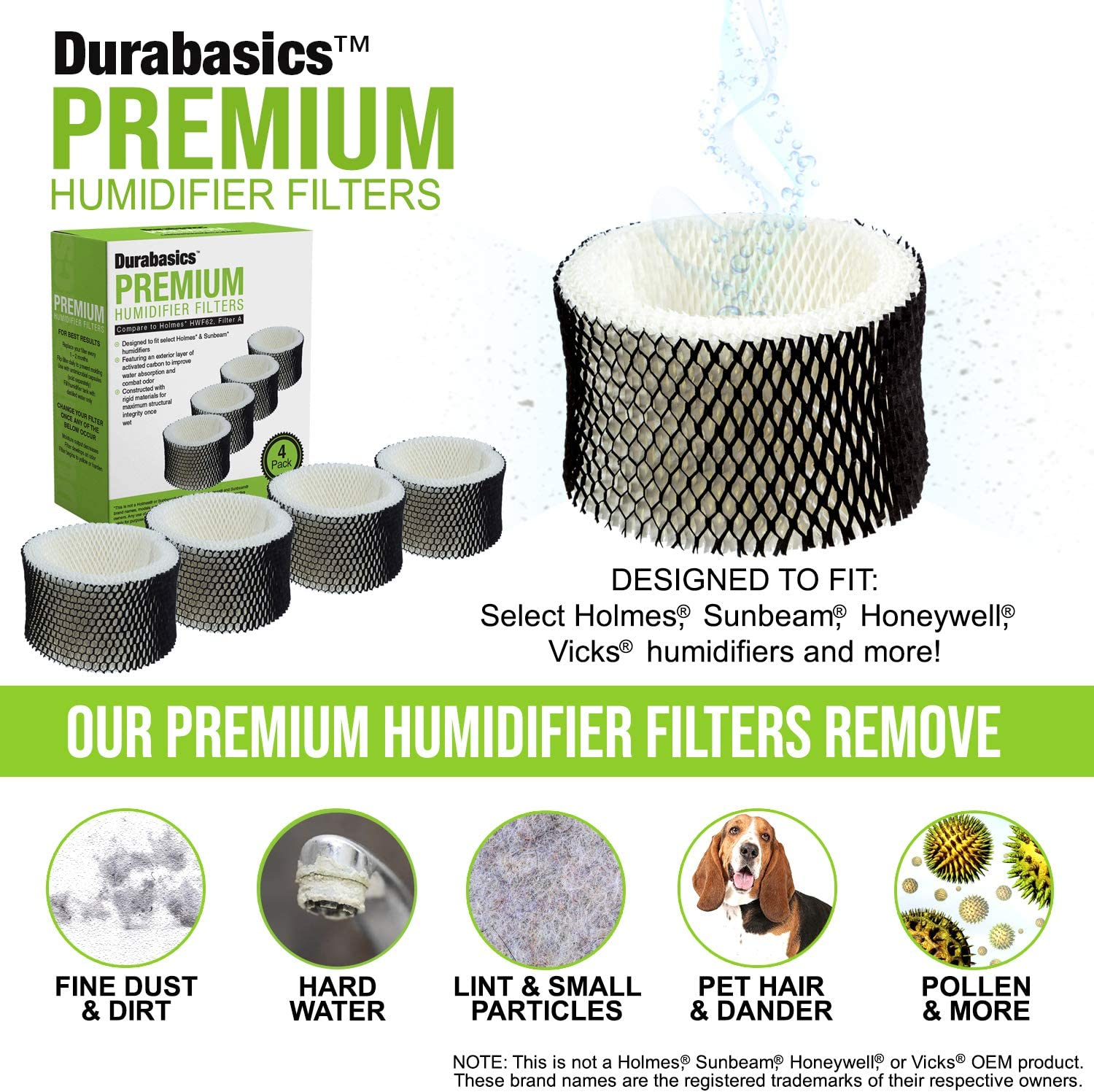 Also Fits HWF62CS and Many Sunbeam Humidifiers Durabasics 4 Pack of Compatible Humidifier Filters Filter A Replacement for Holmes HWF62