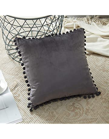 Top Finel Decorative Throw Pillow Covers With Pom Poms Soft Particles  Velvet Solid Cushion Covers