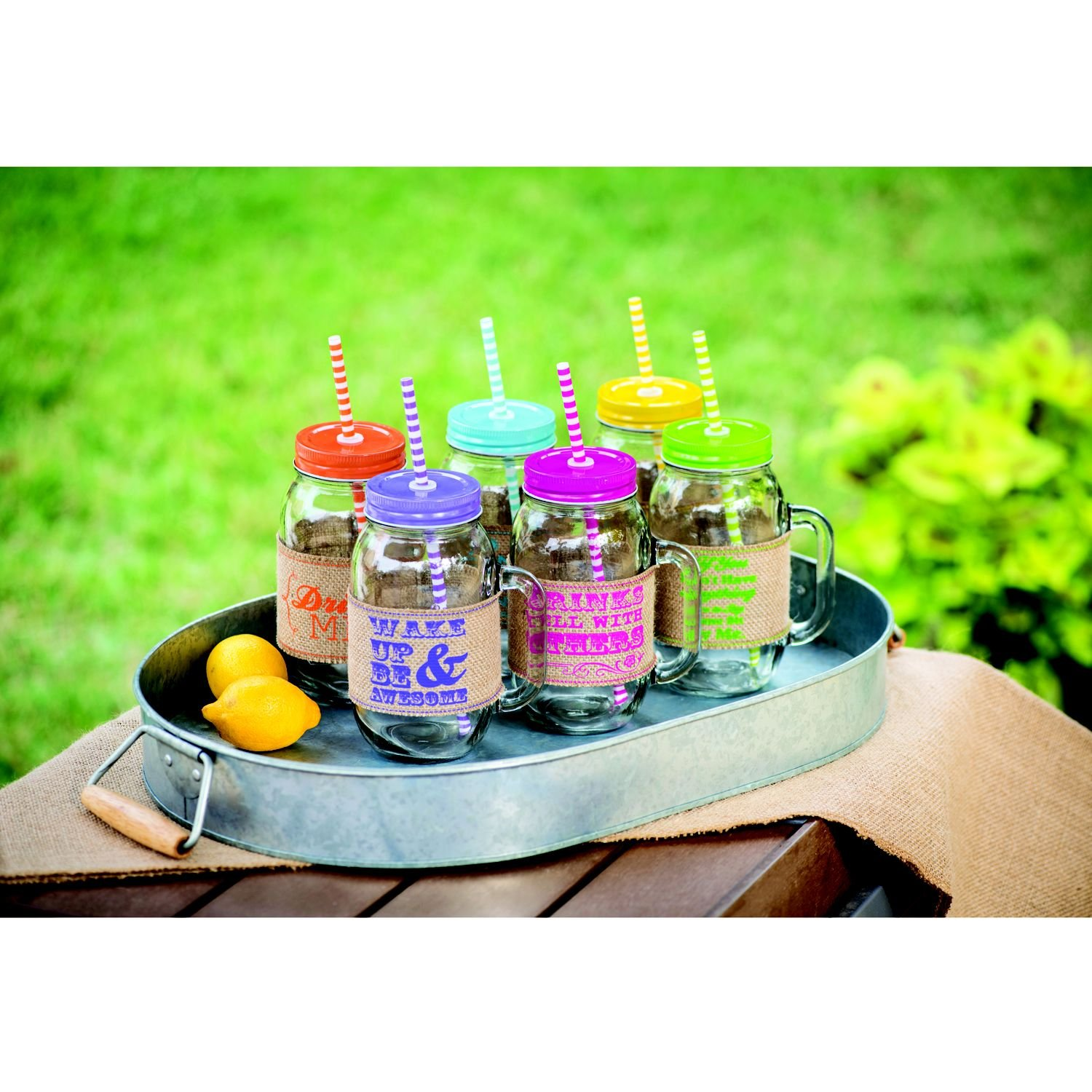 Mason Glass Jars 6 pc Set with Burlap Sleeves, Color Lids & 12 Reusable Straws