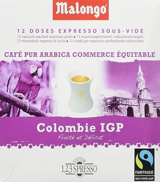 Malongo - Colombia Supremo - Café Arábica en Monodosis al Vacio - 12 Monodosis - 78