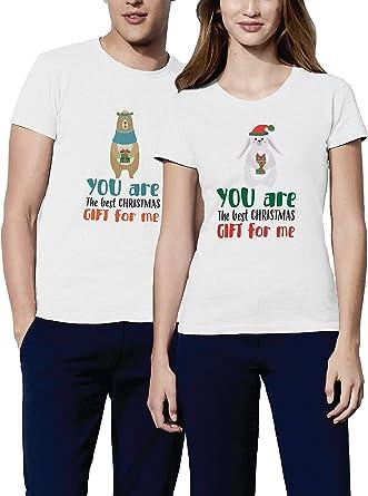 VIVAMAKE® Pack 2 Camisetas de Navidad para Mujer y Hombre Originales con Diseño Pareja Navideña: Amazon.es: Ropa y accesorios