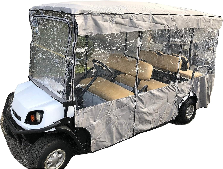 "Formosa Covers Premium Tight Weave Golf Cart Driving Enclosure 6 Seater Passenger EZGO 4 + 2 Bench - 119"" L x 44"" W x 63"" H"