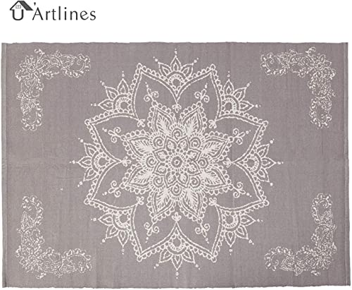 U Artlines Cotton Area Rug Hand Woven Printed Mat Machine Washable Modern for Bedroom Kitchen Laundry Room 4 x6 , Light Purple