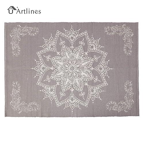 U Artlines Cotton Area Rug Hand Woven Printed Mat Machine Washable Modern for Bedroom Kitchen Laundry Room 4 x6 , Light Purple