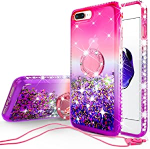 GW Cases for iPhone 8 Plus Case / iPhone 7 Plus Case Cute Ring Liquid Glitter Shock Proof Phone Case Bling Kickstand for Girls Women Compatible for Apple iPhone 7/8 Plus - Hot Pink/Purple