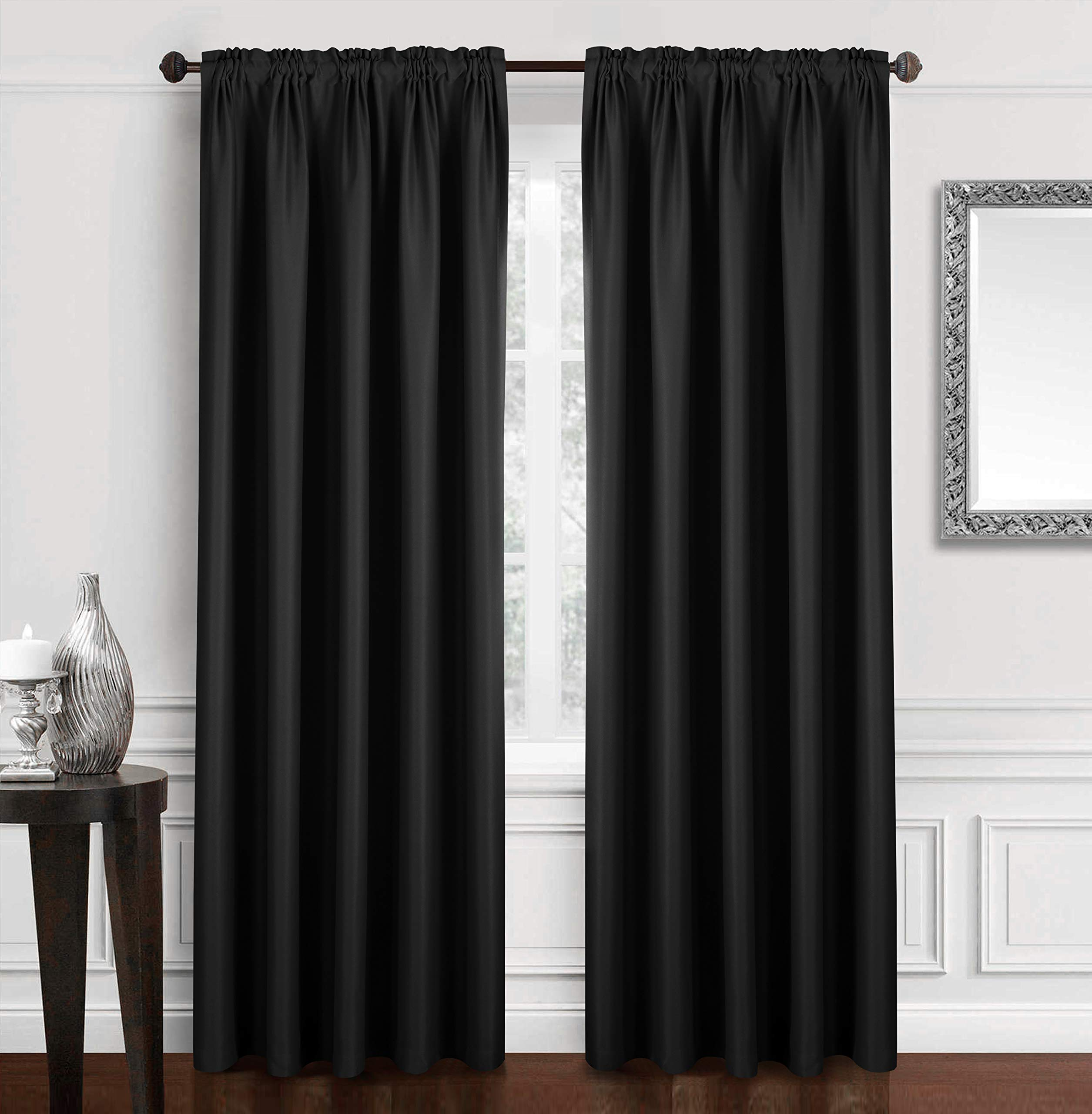 Dreaming Casa Solid Blackout Curtain for Bedroom 96 Inches Long Draperies Window Treatment 2 Panels Black Rod Pocket 2(52'' W x 96'' L) by Dreaming Casa