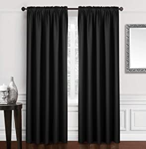 """Dreaming Casa Solid Blackout Curtain for Bedroom 96 Inches Long Draperies Window Treatment 2 Panels Black Rod Pocket 2(52"""" W x 96"""" L)"""