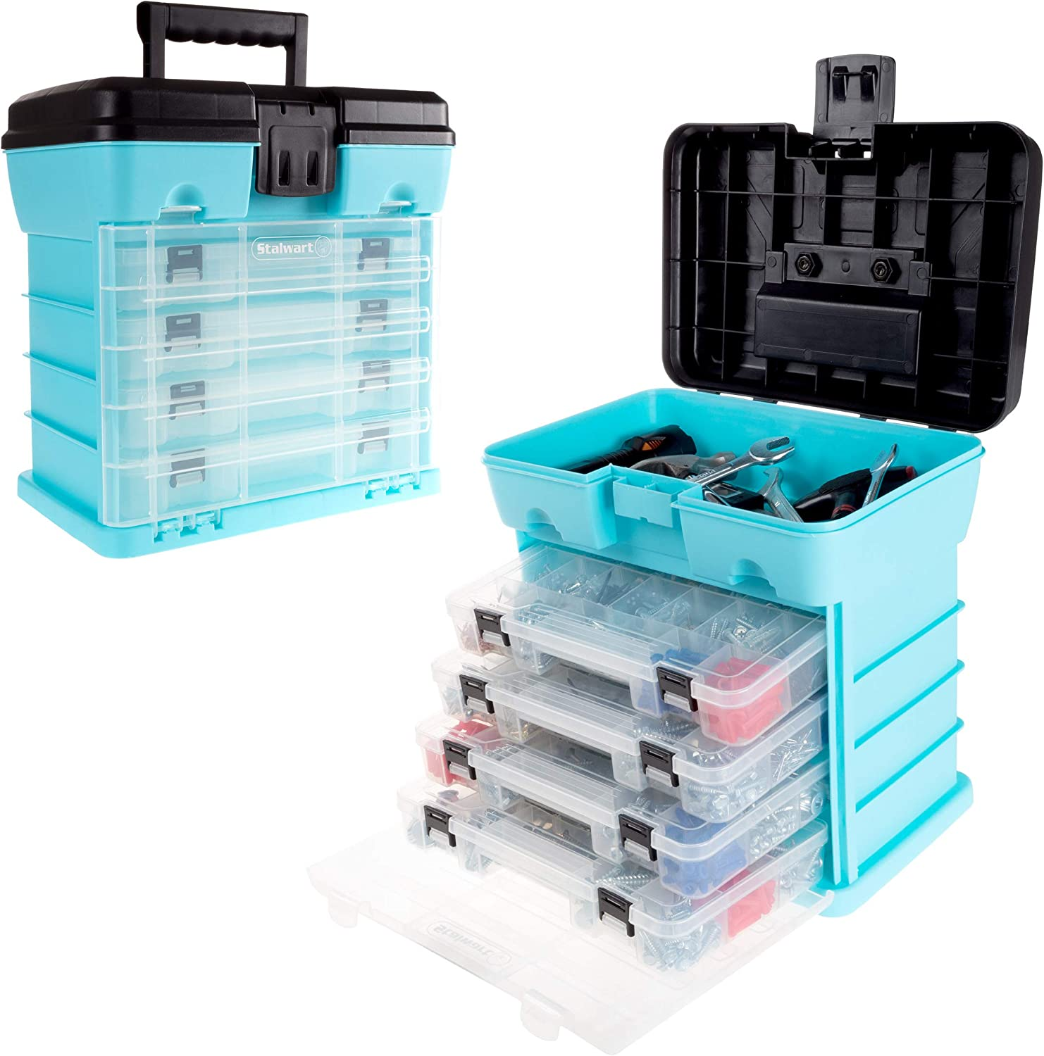 Multifunctional 4 Drawers Tool Box Utility Storage Carry Case Bits Organiser New
