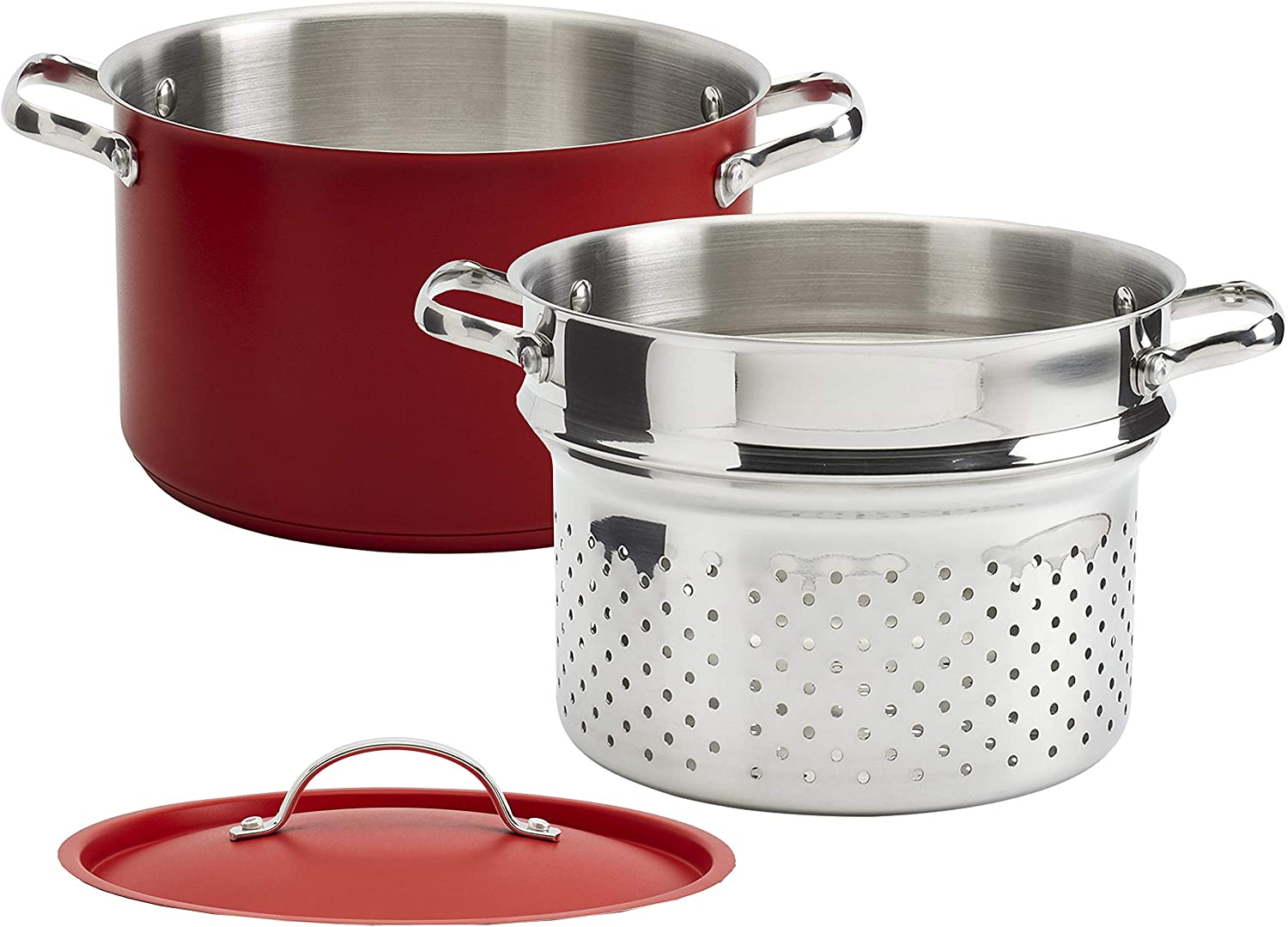 Denmark Tools for Cooks Bristol Cookware Collection- Stainless Steel Covered Dutch Oven Stock Pot Steamer Insert, 6 Quart 3 Piece Pasta Cooker in Red