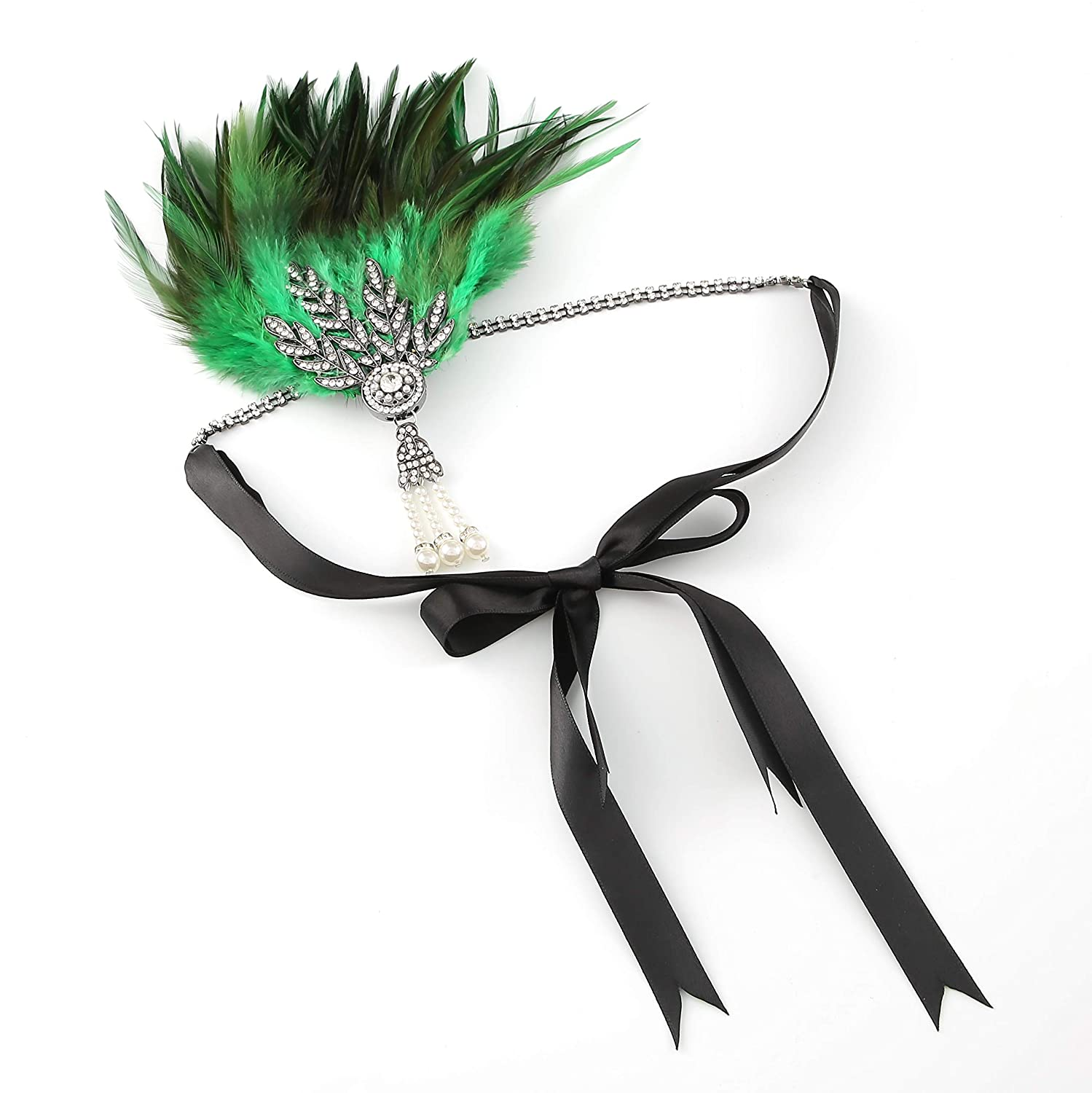 Metme Roaring 20s Flapper Headband Crystal Great Gatsby Headpiece Feather Vintage 1920s Costume Hair Accessories