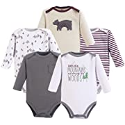 Yoga Sprout Unisex Baby Cotton Bodysuits, Mountains Long Sleeve 5 Pack, 3-6 Months (6M)