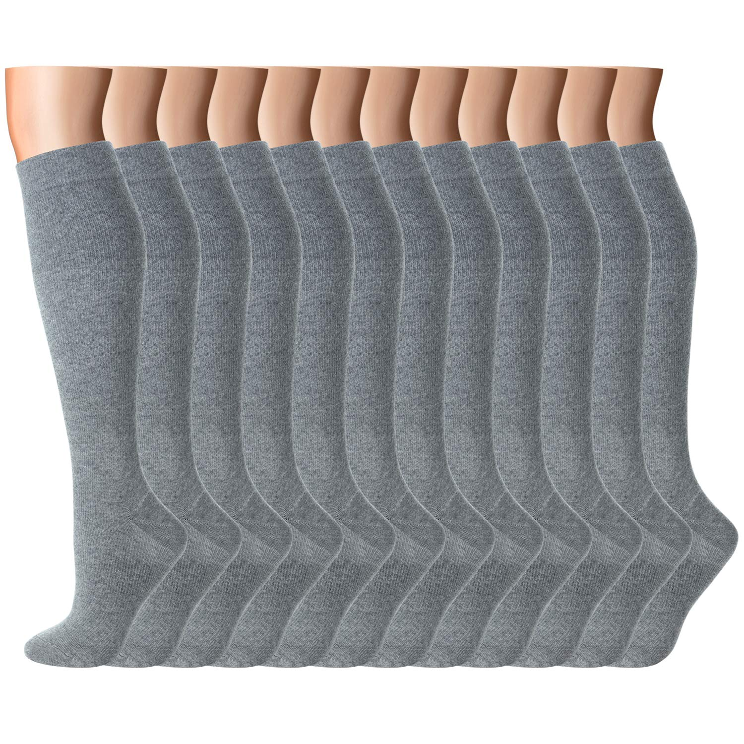 Compression Socks Women Men 15-20 mmHg, 6/7/12-Pairs Mens Womens Athletic Sock for Dress,Running,Medical,Varicose Veins,Travel (Grey-12 Pairs, L/XL(US Women 8-15.5/US Men 8-14))