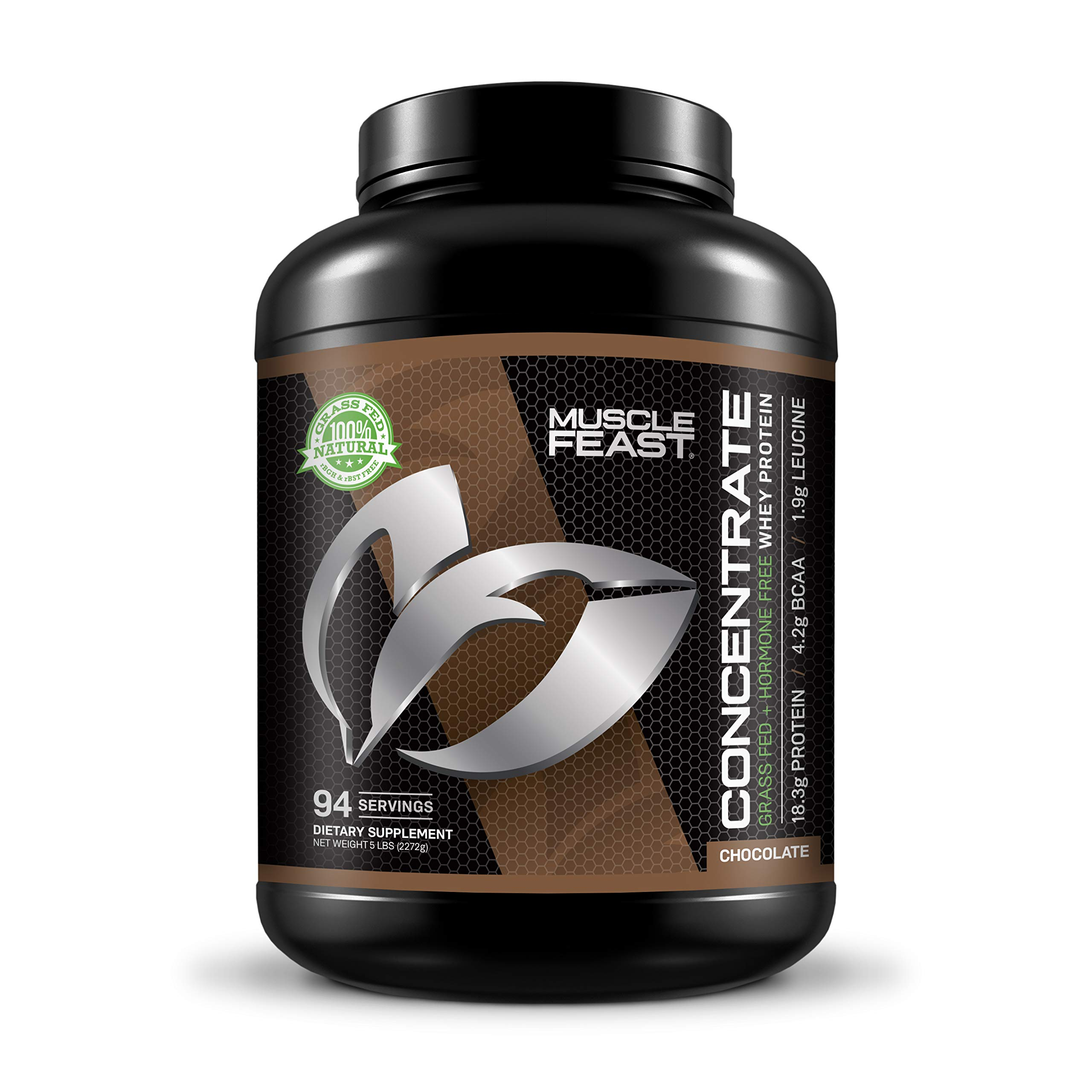 Hormone Free Grass Fed Chocolate Whey Protein Concentrate 5lb by Muscle Feast