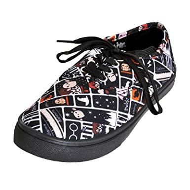 a848d1bcd562 NJ Screenprints Harry Potter Women's Sneaker Shoes Chibi Style Black White:  Amazon.co.uk: Clothing