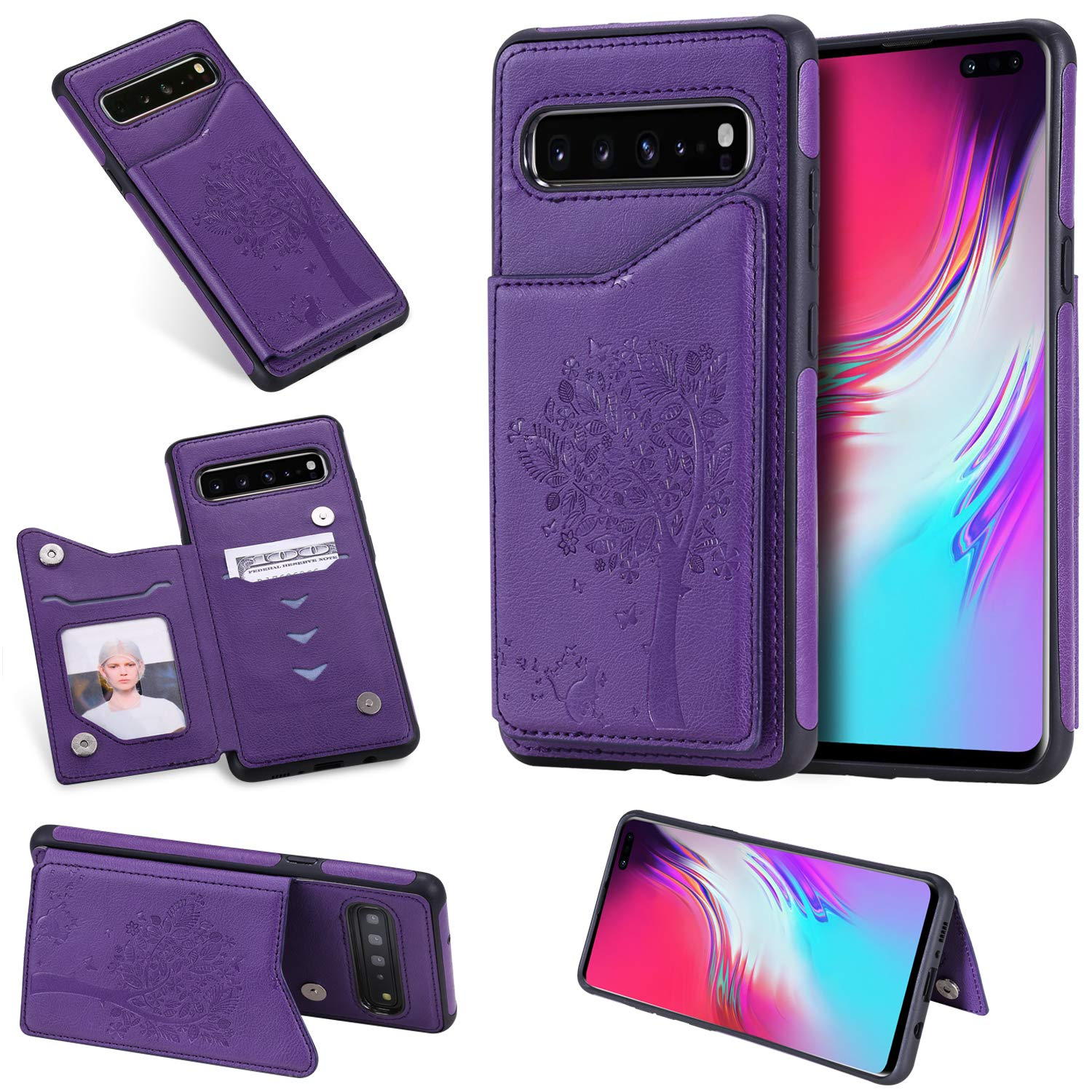Tznzxm Galaxy S10 5G Case, Fashion Tree Cat PU Leather Kickstand Card Slots Double Magnetic Clasp Durable Shockproof Soft TPU Back Wallet Flip Cover for Samsung Galaxy S10 5G 2019 Purple by Tznzxm