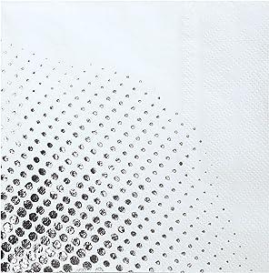 DesignReady Silver Foil Polka Dot Cocktail Napkins (100-Pack) | 3-Ply, 5x5 Inches