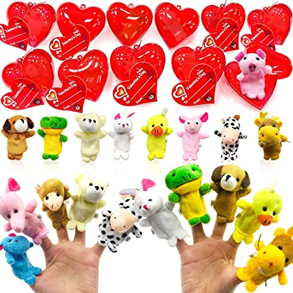 28 Pack Plush Animal Stuffed Toys Filled Valentines Heart 14 Style Animal Toys Finger Puppet Decoration Valentines Cards For Kids Boys Girls Valentines Day Classroom Gifts Exchange Prizes Party Favors