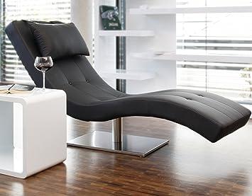 Relaxliege modern  Designer-Liege Chaise-Longue aus Kunstleder schwarz mit ...
