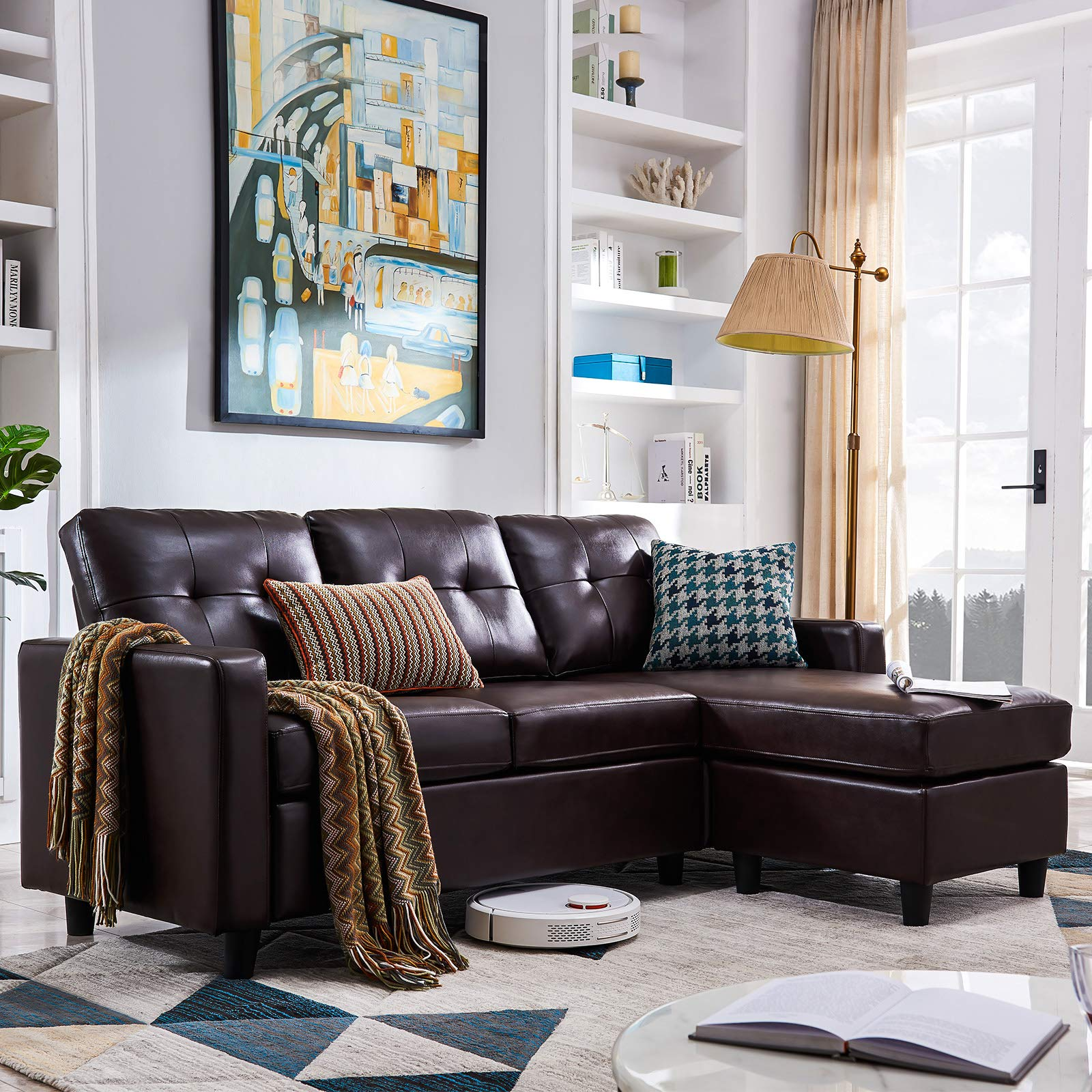 HONBAY Convertible Sectional Sofa Couch Leather L-Shape Couch with Modern Faux Leather Sectional for Small Space Apartment Brown by HONBAY