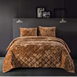 SHALALA NEW YORK Velvet Quilted Comforter Set - Soft Comforter with 2 Matching Pillow Sham - Ultra Soft Plush Velvet - Geomet