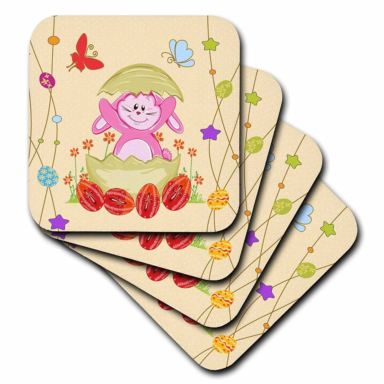 Set of 8 3dRose cst/_104569/_2 Cute Hatched Easter Bunny Spring Easter Illustration-Soft Coasters