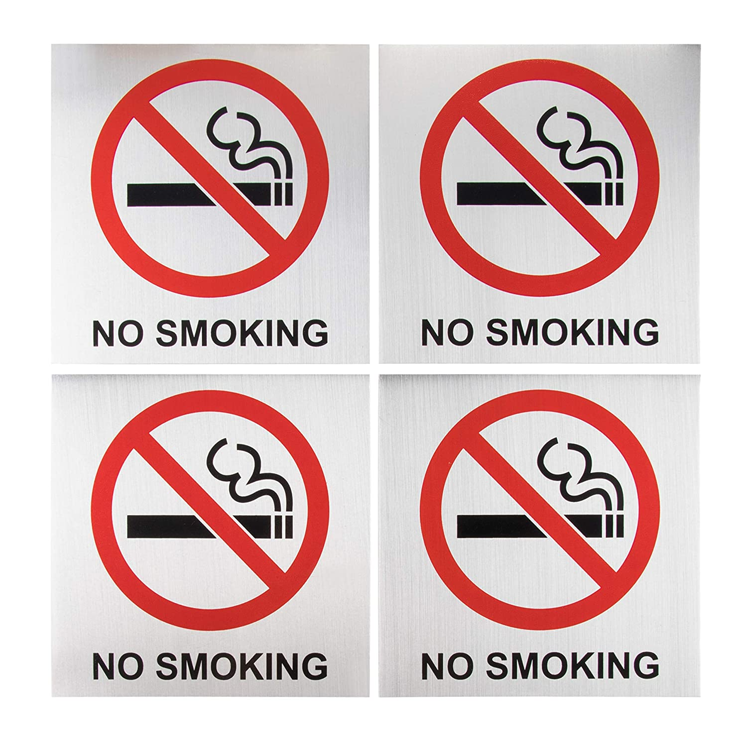 Coffee Shops 4-Pack Metal No Smoking Square Aluminum Signs Restaurants Ideal for Public Spaces 5.5 x 5.5 Inches Indoors and Outdoors Self-Adhesive No Smoking Signs