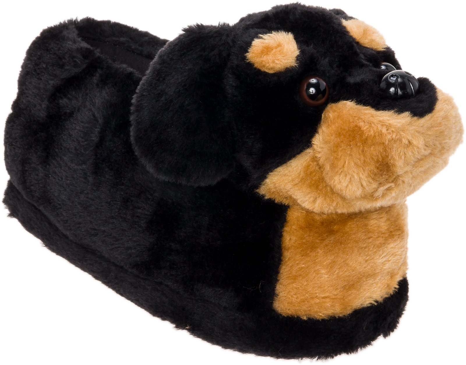 Silver Lilly Rottweiler Slippers - Plush Dog Slippers w/Platform by (Black/Tan, Medium)